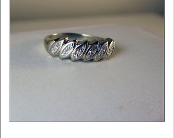Vintage 14k wide .25 Ct Diamond Wedding Band Ring