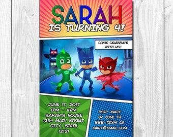 PJ Masks Printable OR Printed Birthday Invitation; Digital Graphic Design; Printed Invites