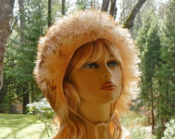 Vintage Sheepskin Hat With Tassels From Italy Made In 1960's Natural Lamb Fur