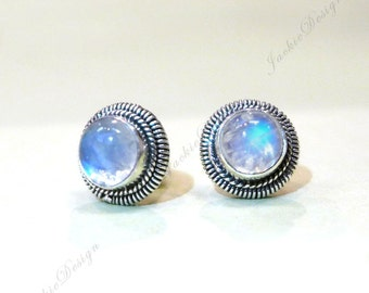 Small 7mm Rainbow Moonstone Stud Post Earrings Flash Blue Bali Sterling Silver JD103