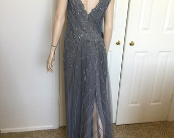 Saks Liancarlo formal gown vintage pewter silver grey full length ball gown bridesmaid mother of the bride wedding dress bridesmaid prom
