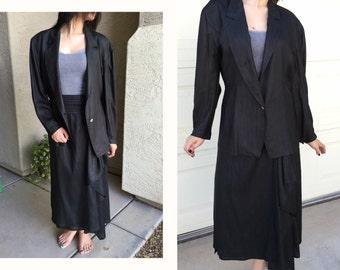 Black silk suit hand tailored designer dress black suit 22 Boutique 1970s 1980s UNIQUE class act OOAK couture