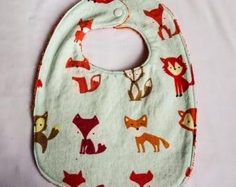 handmade fox baby bib, orange backing