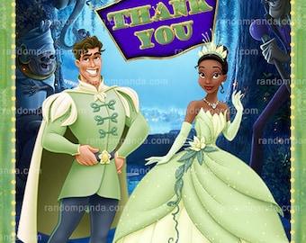 Princess and the Frog Thank You Card, Tiana Naveen Party, Princess Frog Thank You Note