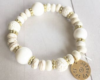 White Essential Oil Diffuser Bracelet