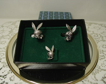 Authentic 1970s Playboy Tie Tack and Cufflinks set in Original Box
