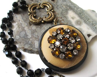 LONG LAYERING Vintage Black Rosary & Button Necklace Jewelry: Amber and Rhinestone with Beige Velvet Leaves Fabric and Quatrefoil Connector
