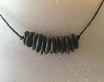 GGray Black Granite Beach Stone Earthy Natural Bohemian SurferUnisex Adjustable Leather Necklace