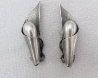 Vintage Sterling Silver and Pearl Clip on Earrings, Elegant and Classy, 1950's Hollywood Glam