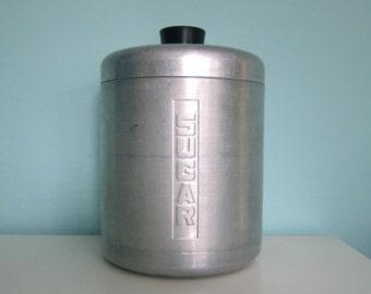 Sugar Canister, Spun Aluminum Sugar Canister, Sugar Tin, Vintage Sugar Canister, Spun Aluminum Sugar Canister, Mid Century Sugar Canister