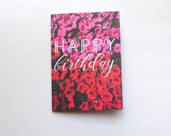 Happy Birthday Card - Minimal Pink Red Feminine Birthday Flowers Unique Happy Birthday Card - Good for the Soule