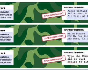 EDITABLE Boot Camp Party Invitations Address Labels - Instantly Personalized Envelope Address Wraps for your Army Party