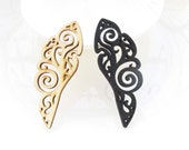 Pretty Nature / Black Angel Wing  Wooden Charm/pendant NM47