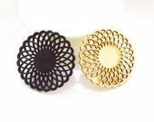50x 50 mm Filigree Nature / Black Sunflower Round Shape Wood Dangle/ Wooden Charm/Pendant NM84