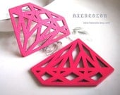 55x42mm Pretty Hot Pink Diamond Wooden Charm/Pendant MH126 06