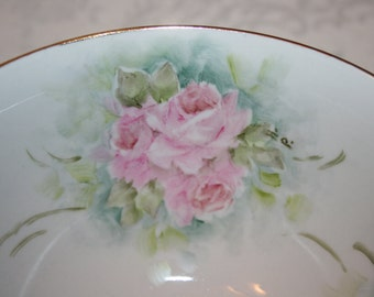Vintage Hand Painted China Bowl Pink Roses Green Leaves Romantic Shabby Chic Cottage Chic