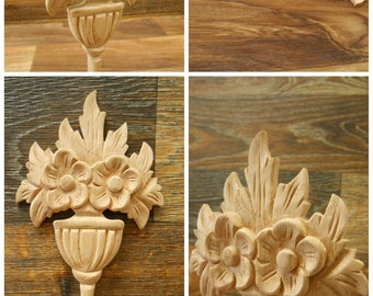 """Oak  Basket Flower -Carved Wood Applique   5"""" W- 9 1/2"""" H - 1/2"""" D-OAK ref19Ee"""