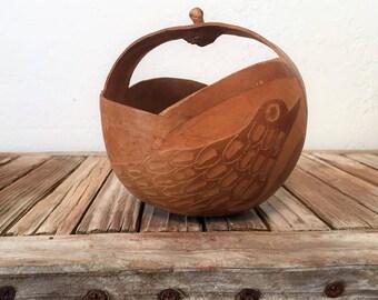 Primitive Hand Carved Gourd Art Bowl