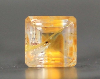 Hematoid in Quartz High Clarity, Crystal Clear Stud Facet, Faceted Square Golden Earring Necklace Ring Prong Setting Gemstone (CA6246)