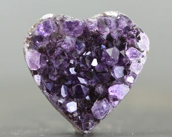 Heart Natural Purple Amethyst Drusy Gemstone Flat Back for Embroidery Setting and Wrapping - February Birthstone (CA7792)