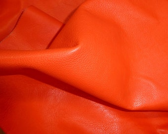 "Leather 8""x10"" DIVINE Bright ORANGE top grain Cowhide 2.5 oz / 1 mm half hides available PeggySueAlso™ E2885-11 Full hides available"