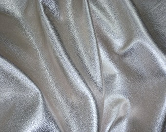 "SILVER pebbled Metallic 12""x12"" SOFT cowhide - shows the grain - Leather 3-3.25 oz / 1.2-1.3 mm PeggySueAlso™ E4100-03 Full hides available"