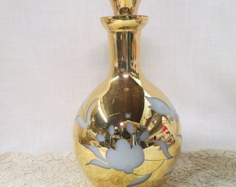 Gold Cut To White Decanter Cameo Glass Butterfly Flowers Floral Bar Ware
