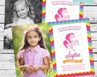 Magical Unicorn Birthday Party Photo Invitation + Our 4 Favorite Printables!