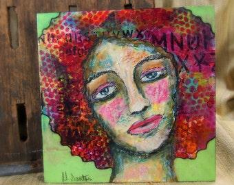 Self Portrait - Original Mixed Media Painting