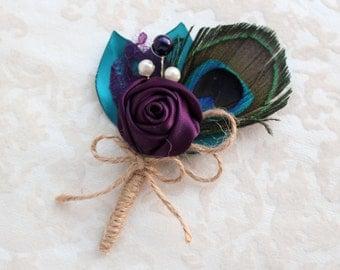 Peacock Teal Purple Rosette Boutonniere/ Wedding Lapel Pin/ Handmade Wedding Accessory