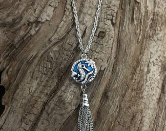 "SEAHORSE SNAP Tassel Necklace, 18mm Silver & Blue Enamel Seahorse/Starfish w/rhinestones Snap, 34"" Twist Link Necklace, Snap Included"