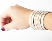 Leather Bracelet / Original Sliced Cuff / Champagne Sparkle