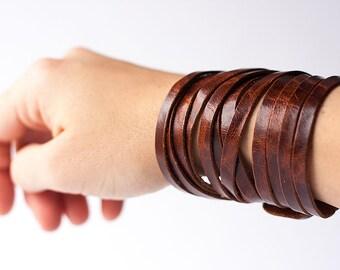 Leather Bracelet / Original Sliced Wrap Cuff / Caramel