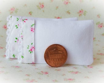 Set of 2 White Bed Pillows with pink floral cotton and lace trim - 1:12 scale, miniature pillows