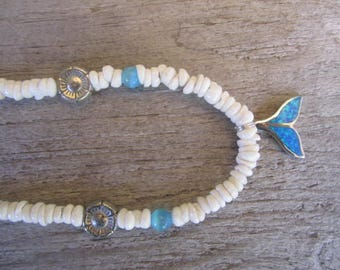 whale's tail necklace, hawaiian shell necklace, puka shells, blue opal charm, beach necklace