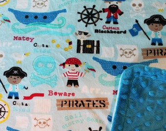 Minky Blanket Pirates Print Minky with Dark Turquoise Dimple Dot Minky Backing - Great Gift for a Baby or Toddler