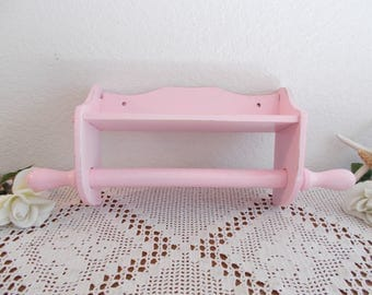 Pink Shabby Chic Wall Shelf Towel Rack Storage Organizer Up Cycled Vintage Wood French Country Farmhouse Romantic Kitchen Cottage Home Decor
