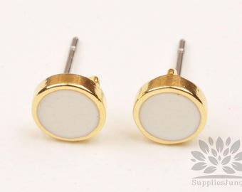 E311-WH// Gold Plated 7mm WHITE Epoxy Round Earring Post, 2pcs