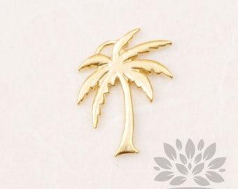 P862-MG// Matt Gold Plated Mini Palm Tree Pendant, 2pcs
