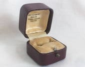 Antique Ring Box Red Brown Leather Velvet Wedding Display pushed button Vintage Chicago New York