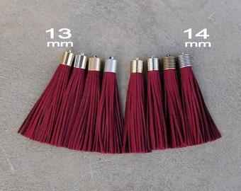 Burgundy (dark Red)  Nubuck Leather TASSEL in 13 or 14mm Cap -4 colors Plated Cap- Pick cap size, cap color