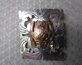 Vintage Peruvian Sterling Silver 18K Gold Inca Pin Brooch