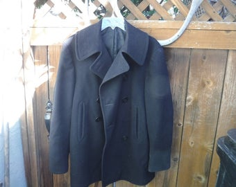 Vintage Naval Clothing Factory Peacoat Wool Blue size 40