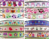 "7/8"" 22mm Mixed Owl Cartoon Printed Grosgrain RIBBON 5 Yards For Haribow Scrapbook Carft"