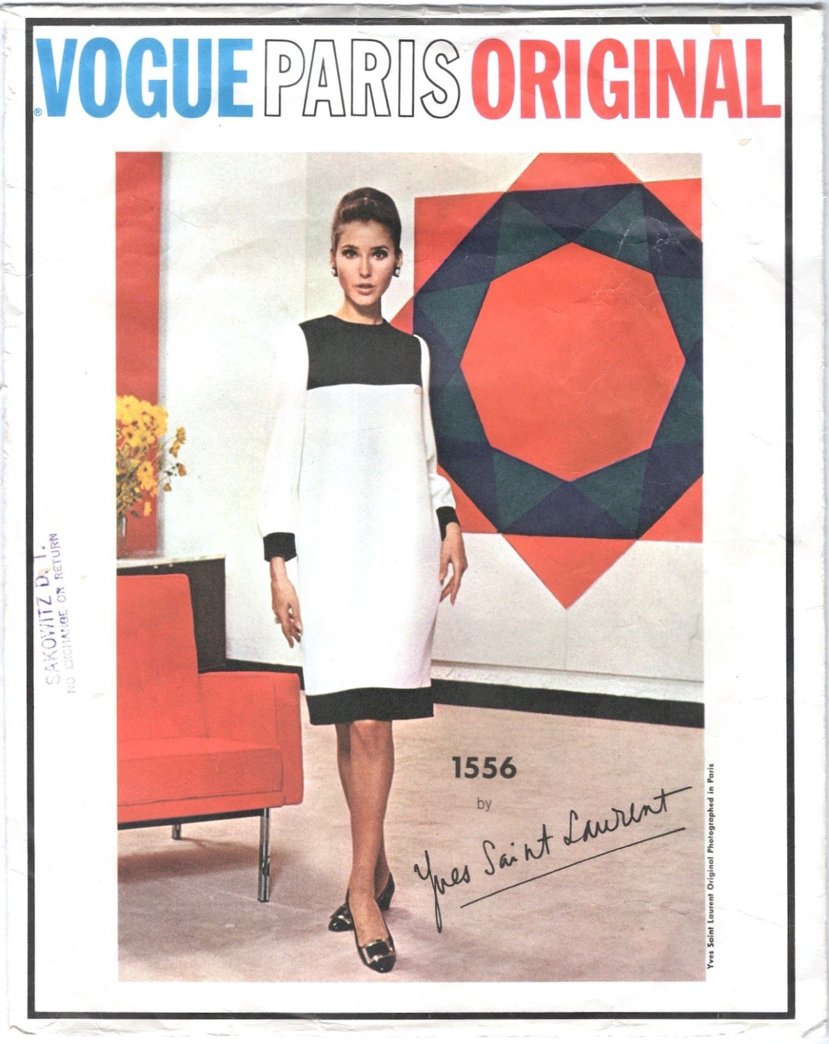 1960s Mondrian pattern Vogue 1556 by Yves Saint Laurent