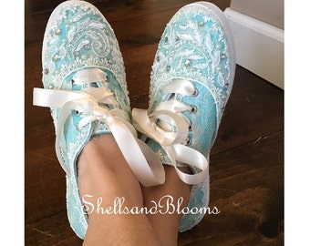 Wedding Bridal Tennis Shoes Sneakers -  Organza or Satin Laces - Rhinestone Pearls - vintage inspired - flat dancing  - Robins Egg Blue