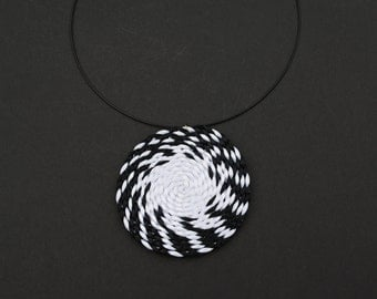 Black and white spiral necklace, rattail pendant, swirl necklace, geometric necklace, statement necklace spring trends, gift for her