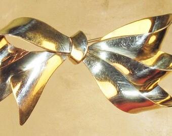3S Carl Art 12K Gold Filled Bow Brooch Rockabilly Retro