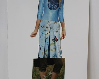 Original Magazine Collage Fashion Illustration // fashion art, collage art, baby blue, green , spliced art, apartment art, art gifts, decor