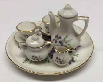 Miniature tea set 10 Piece Violet Ceramic Tea Set